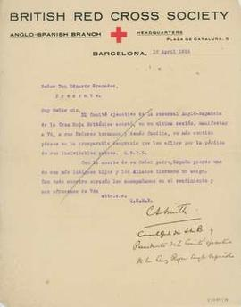 Carta de la British Red Cross Society a Eduardo Granados