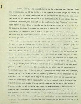 Carta del Govern Central al Governador Civil de Barcelona